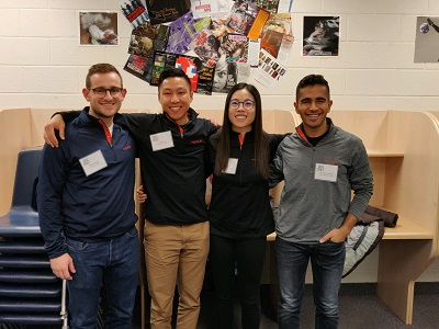 Volunteer judges Andrew Skoko, Hilbert Li, Rachel Ko, and Ahmed Ujjainwala represent Hatch at the FIRST LEGO® League tournament in Oakville, Canada.