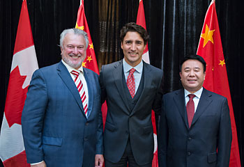Joe Lombard, Canadian Prime Minister Justin Trudeau and Mr. Ma Jian Fei