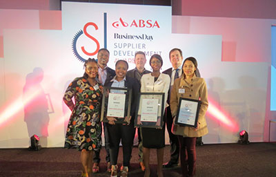 Hatch staff receive the ABSA Supplier Development Awards on May 23, 2018