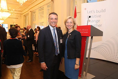 John Bianchini, Chairman and CEO of Hatch poses with Sarah Fountain Smith, Deputy High Commissioner for Canada to the UK