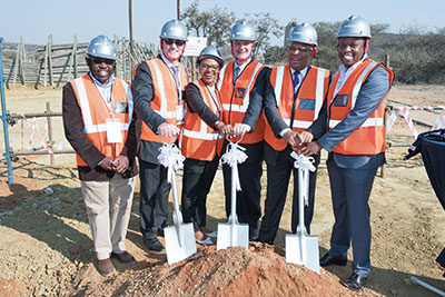 Breaking ground at the sod-turning ceremony were Polokwane smelter manager Phillimon Mukumbe; Platinum CEO Chris Griffith; Hatch regional director, iron ore, Welekazi Cele; Platinum executive head of process Gary Humphries; Limpopo Premier Stanley Chupu Mathabatha and general manager, group smelters, Bayanda Mncwango.