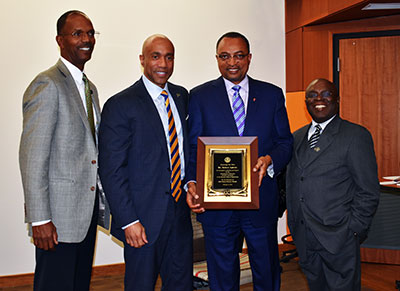 From left: David L. Motley, Managing Partner, BlueTree Ventures; Dr. James R. Martin II, US Steel Dean of Engineering, Swanson School of Engineering; Robert Agbede, Vice-Chairman, Hatch USA; and Sylvanus N. Wosu, Ph.D., Associate Dean of Diversity Affairs, Professor of Mechanical Engineering & Materials Science, Swanson School of Engineering Office of Diversity