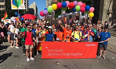 Hatch employees march in Toronto Pride parade