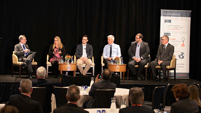Hatch's panel discussion included, from left to right, Craig Thornton (moderator), Laura Twigge-Molecey, Max Koepcke, Mike Elliott, Anthony Downs, and Randy McMeekin.