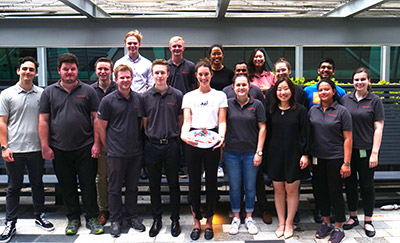 Some of Hatch's Australia interns pose at a fundraising event in support of bushfire relief.
