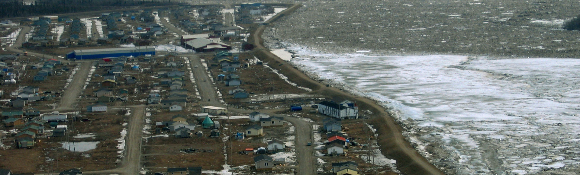 A stabilizing berm holds off ice and water from overflowing into the Kashechewan First Nation